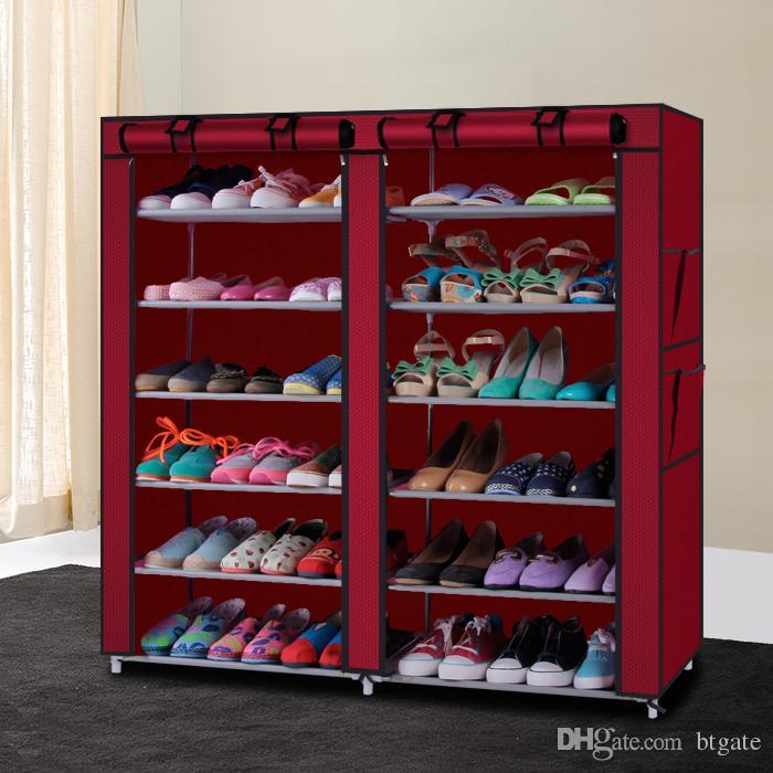 6 ряд 2-х строк 12 решеток нетканые ткани для обуви стойку для обуви в стиле обуви стойку обувь обувь для хранения организатор обуви кабинета США