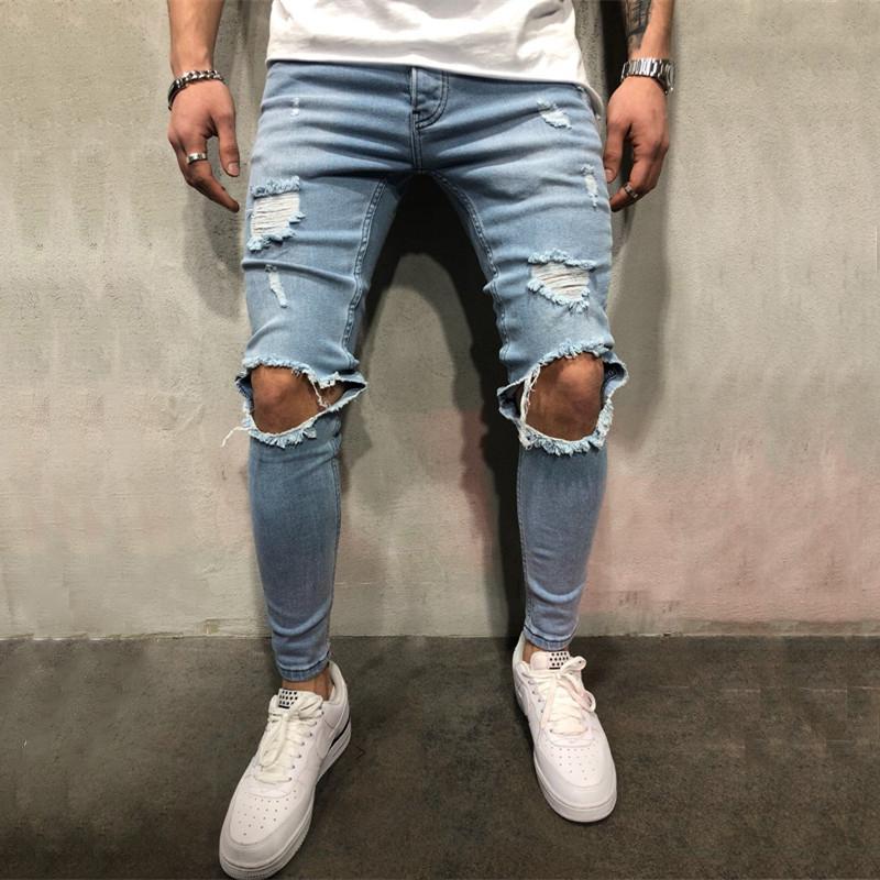 Yüksek kaliteli streç erkekler Diz Ripped Skinny jean kentsel giyim serseri kore mavi siyah kot tasarımcı Koşucular Pantolon sıkıntılı