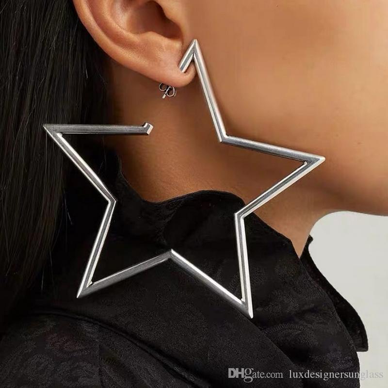 Metal Big Parti Gece Kulübü Moda Takı Aksesuar Yüksek Kalite Star Stud Küpe Kadınlar Yıldız Earring'i beş sivri