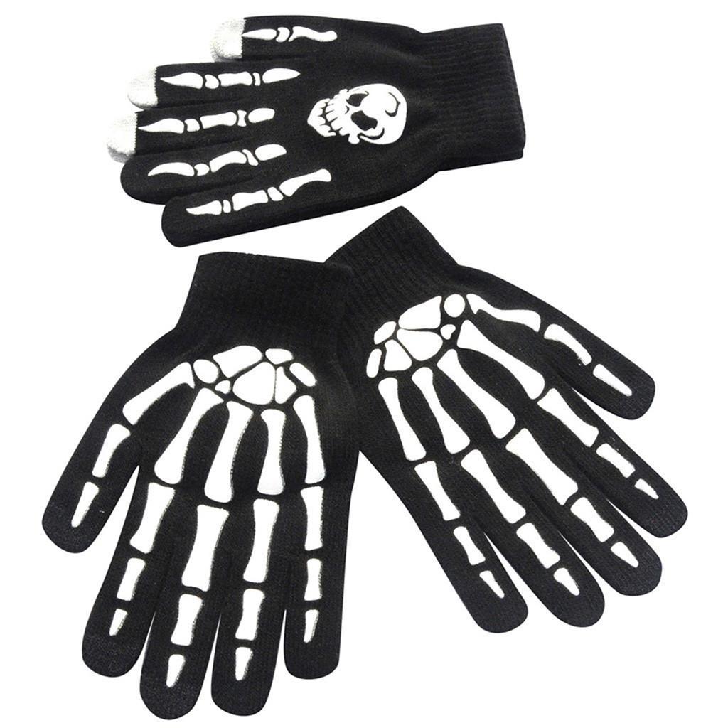 1Pair Men keep warm Skull Bone Skeleton Goth Racing Non-Slip Sports Full Finger Gloves Comfortable gloves Luminous gloves