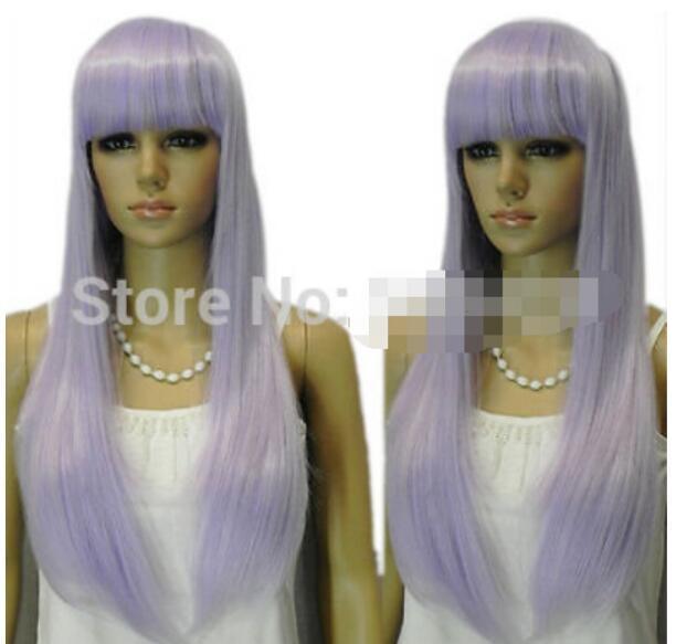 무료 배송 + 로리타 라이트 퍼플 믹스 앞머리 소녀 vocaloid 파티 코스프레 합성 머리 가발 뜨거워
