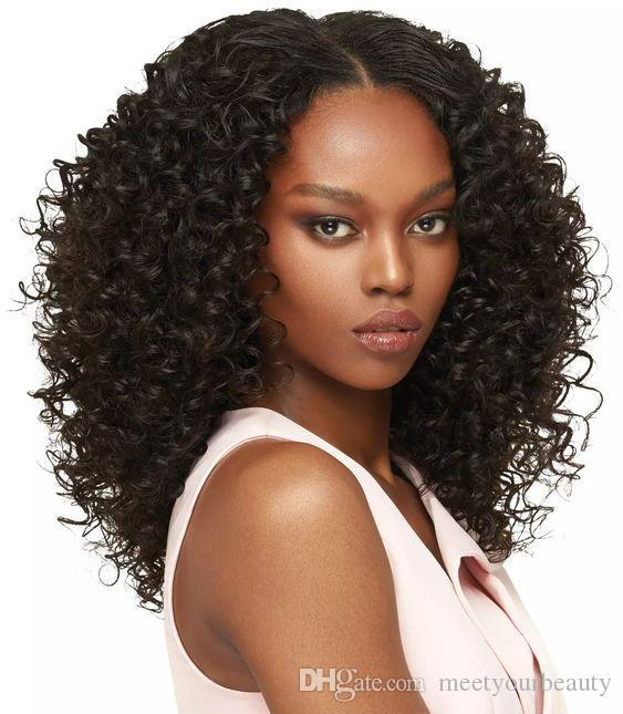 Moda de nova onda do estilo bob mulher peruca de cabelo brasileiro Africano Americano simulação cabelo humano bob encaracolado peruca para senhora