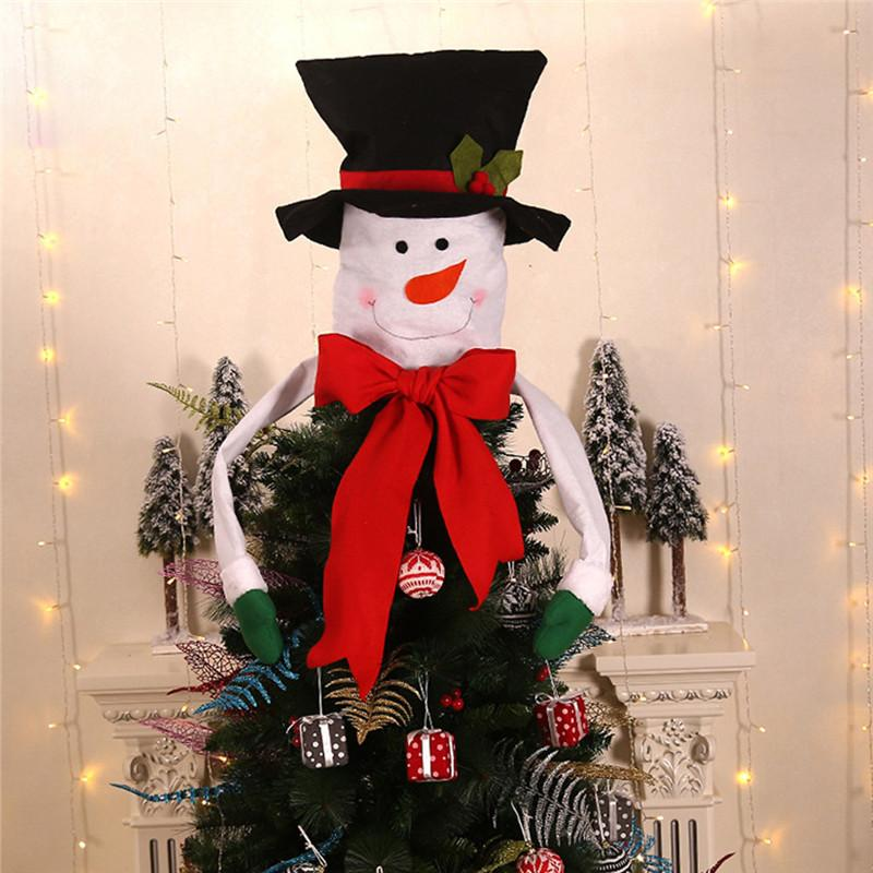Christmas Tree Top Topper Cover Snowman Santa Claus Hat Xmas Tree Ornaments Xmas Cute Party Decoration Gift Pendant @C