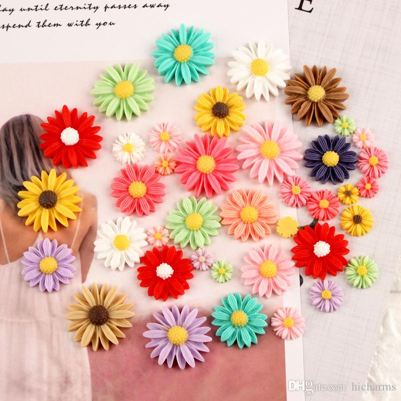 Mix 90pcs DIY resin simulated daisy flower charms floral cabochon ornament craft decoration fashion jewelry making material trinket