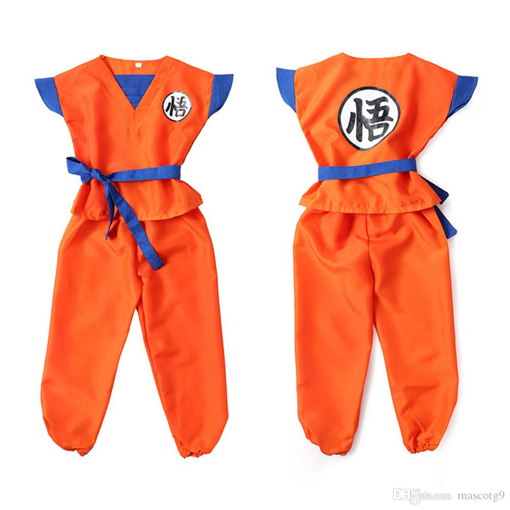 Dragon Ball Z Clothes Suit Son Goku Cosplay Costumes Top/Pant/Belt/Tail/wrister/Wig For Adult Kids