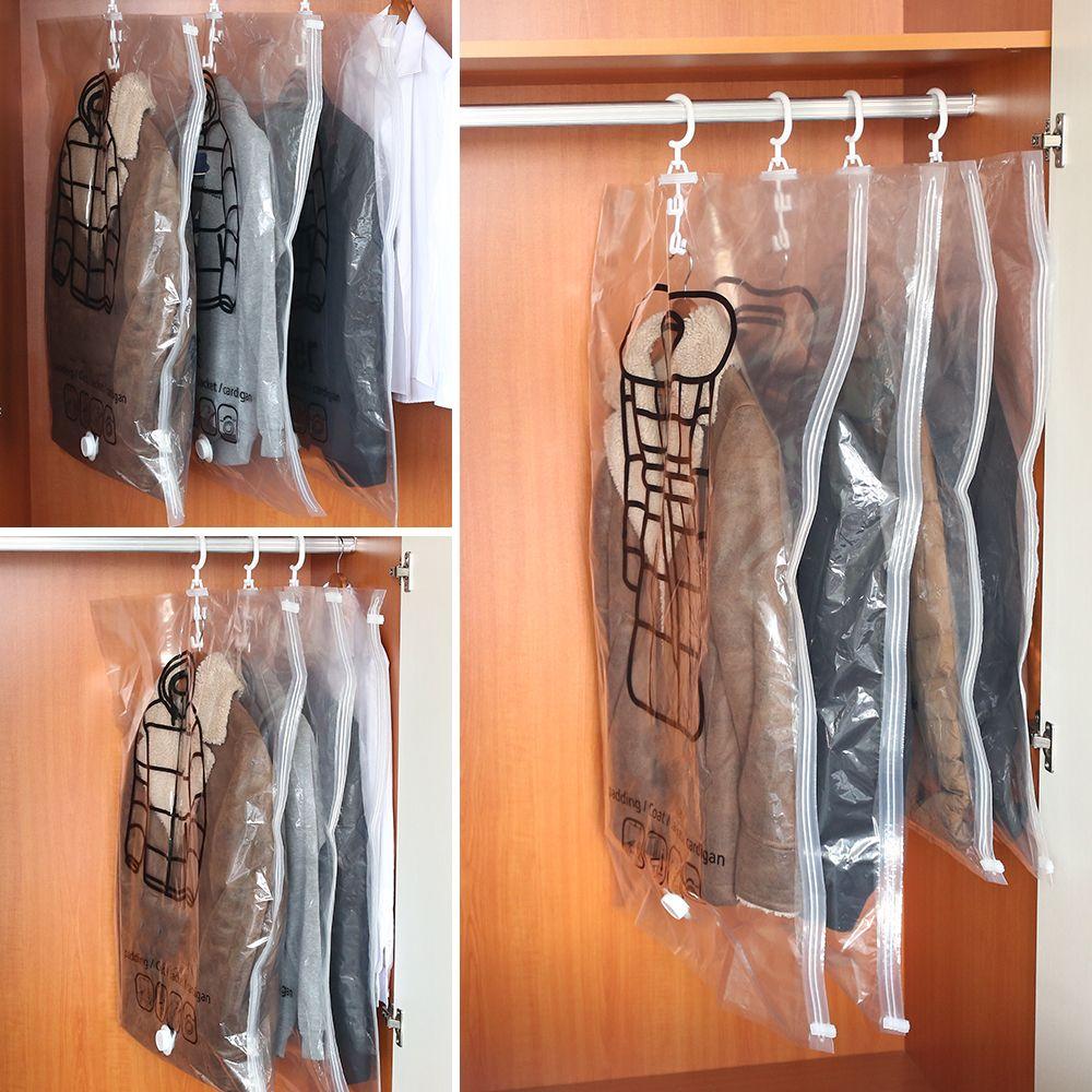 Giyim Katlanabilir Şeffaf Sınır Sıkıştırma Çanta Giyim Organizatör Aşağı Coat Depolama 6Pcs / set Can asın Vakum Torbası