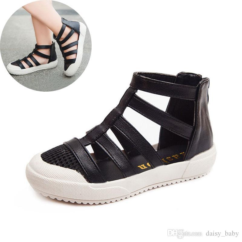 Мода девочек сандалии лето 2019 младенцев Дети сандалии пляж обувь Детская обуви Student Black White # 17