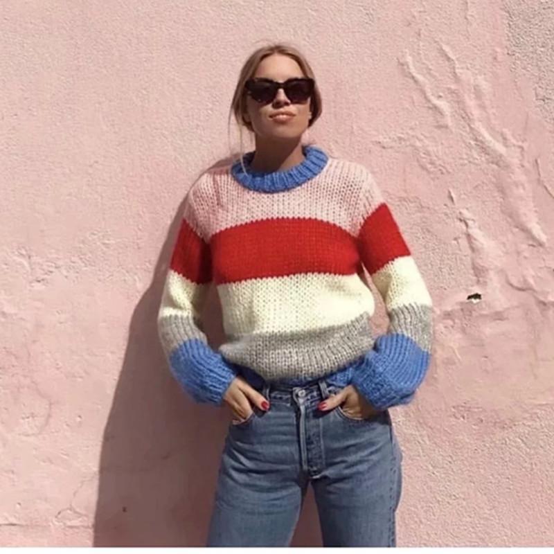 Полосатый негабаритный Женский трикотаж 2018 Brand New O-образным вырезом High Street вязаный пуловер женщины осень дамы свитера cws0080-5
