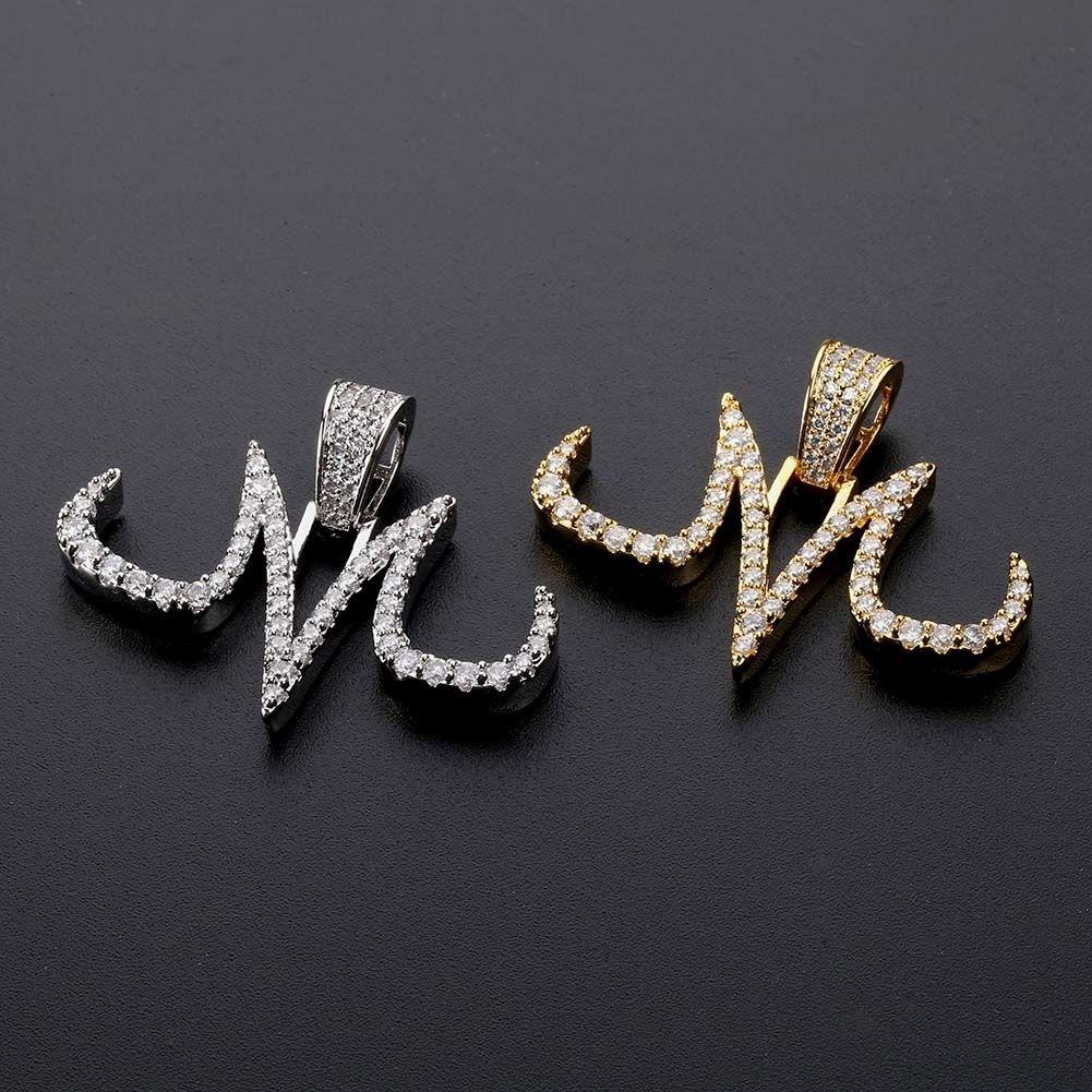 New Custom Glacé Majin collier pendentif hommes blanc et or fini Chaînes Hip Hop Bijoux en or couleur argent charmes V191129