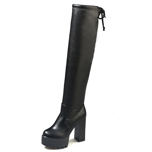 HQFZO Leather Platform Women Long Boots
