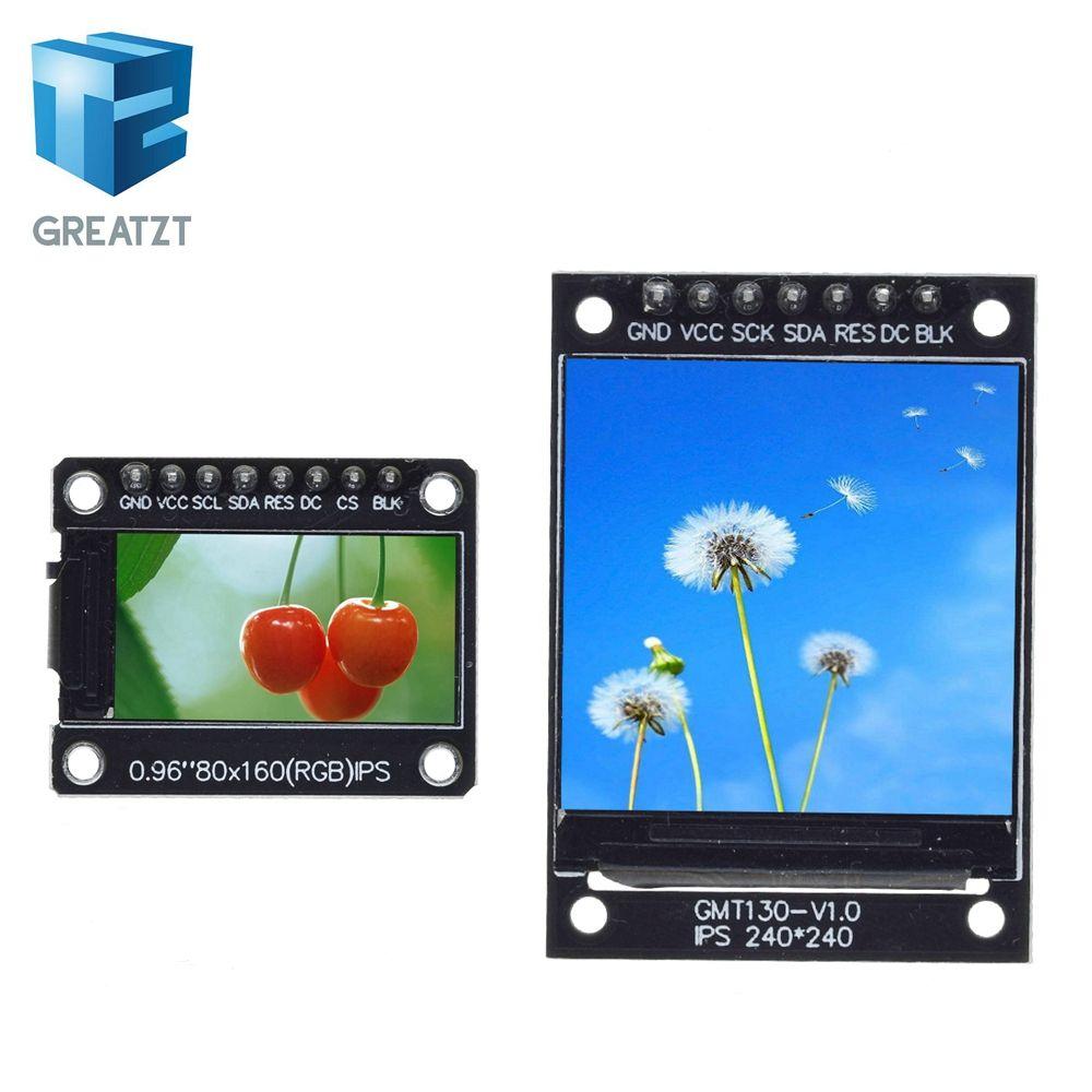 Elektronik Bileşenler GREATZT TFT Ekran Malzemeleri 0.96 / 1.3 inç IPS 7P SPI HD 65K Tam Renkli LCD Modül ST7735 Sürücü