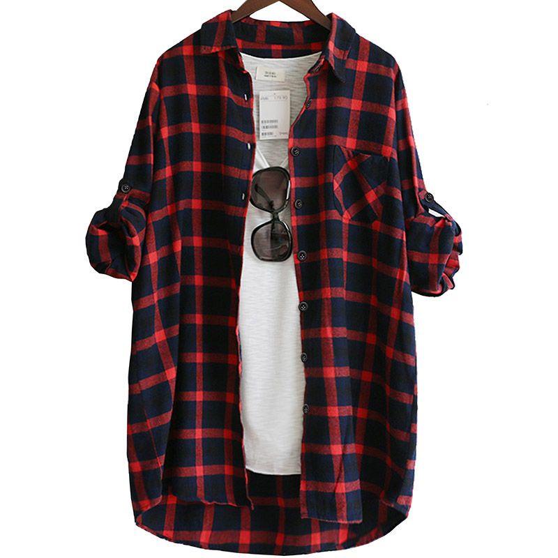 Хлопок Женщины блузка рубашка шотландки 2019 Сыпучие вскользь плед с длинным рукавом большого размера Топ женский Блузы красный / зеленый