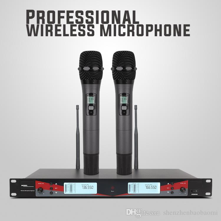 U-2003 Professional UHF Dual Adustable bass Wireless Microphone LCD Display for DVD TV Box Audio Mixer Computer loudspeaker