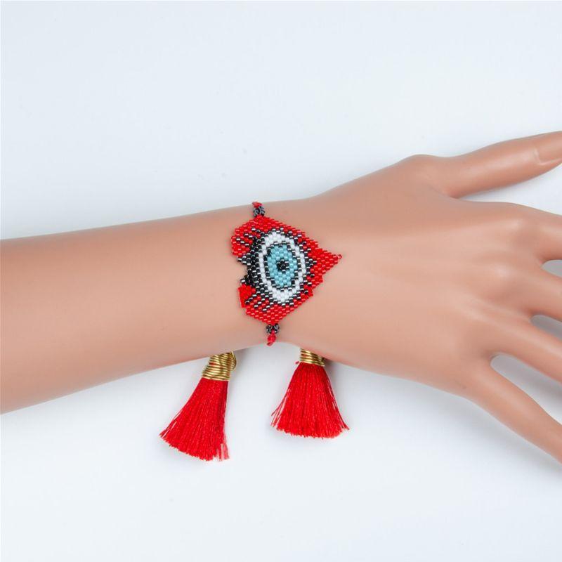 Pareja nuevas pulseras étnicas tejidas a mano Estilo Ojos Rice la pulsera N84D