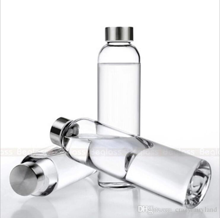 Glass Water Bottle with Nylon Cover 550ml Glass For Hot Water Portable Outdoor High Quality Sport Bottles Free Shipping