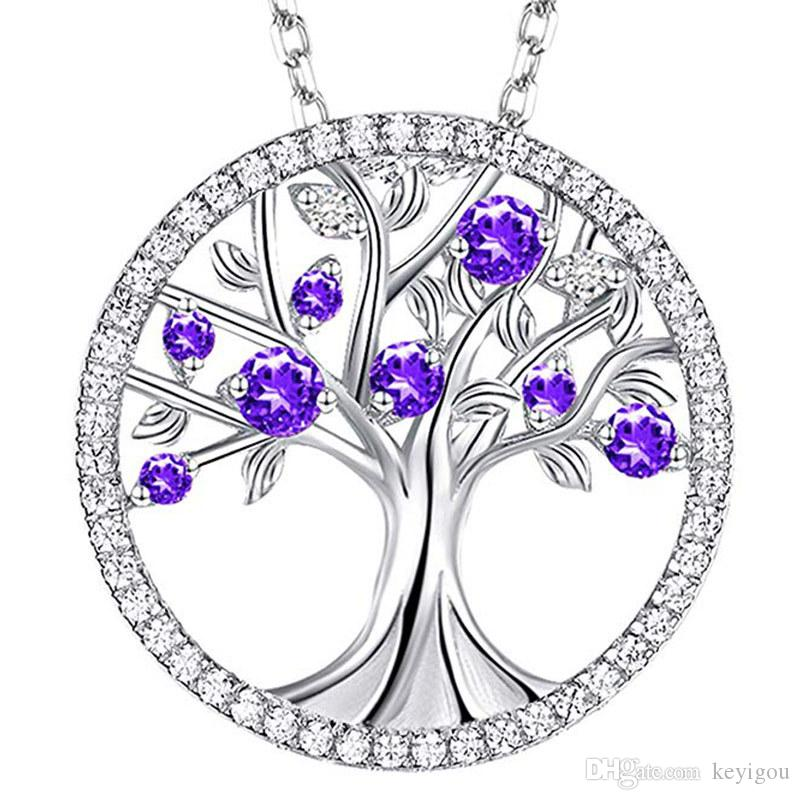 Necklaces for Women Tree of Life Silver Pendant Necklace 925 Round Tree of Life Crystal