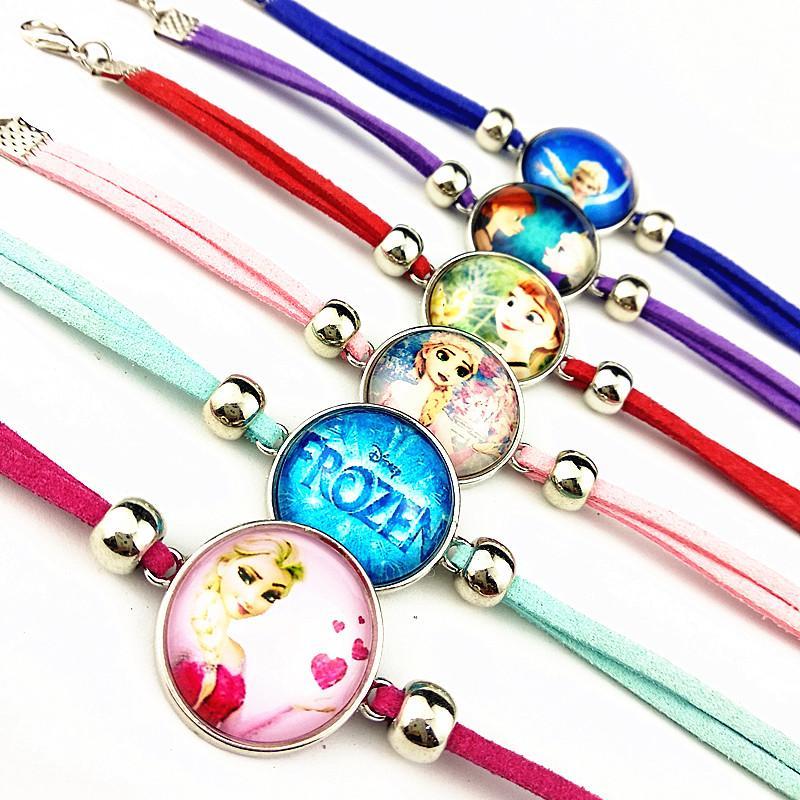 24pcs vetro / lot braccialetti di cuoio braccialetto catena mano Cartoon Movie per il regalo del partito ragazze all-ingrosso