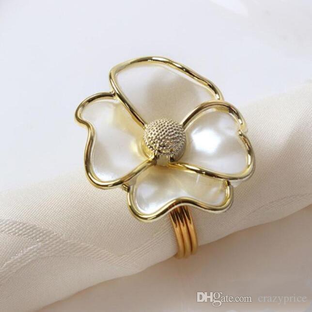 Çiçekler Peçete Halkaları White Pearl Şekli Otel güzel peçete toka düğün Tablo Dekorasyon YSY338-A için Peçete halkaları