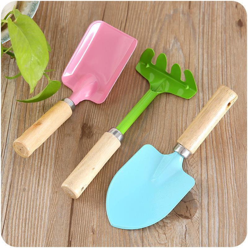 Home Gardening Tools Mini Wooden Handle Small Shovel Rake Three-Piece Set Flower Pot Small Flower Shovel