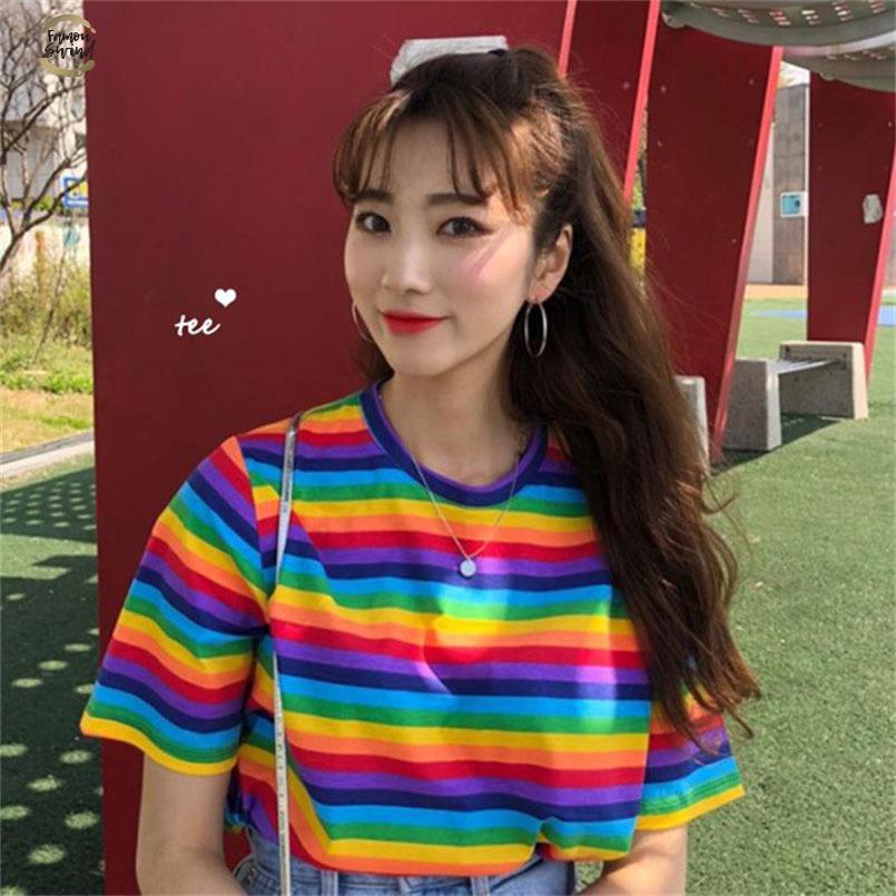 Allentato arcobaleno a righe T Shirt femminile coreano Harajuku delle donne casuali delle magliette a righe Tops giapponese Kawaii Abbigliamento per le donne