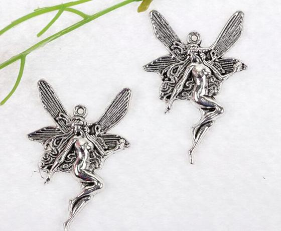 Vintage Silver Butterfly Fairy Angel Charms Pendant For Jewelry Making Bracelet Necklaces Crafts Handmade Accessories DIY Gifts Hot 22x15mm