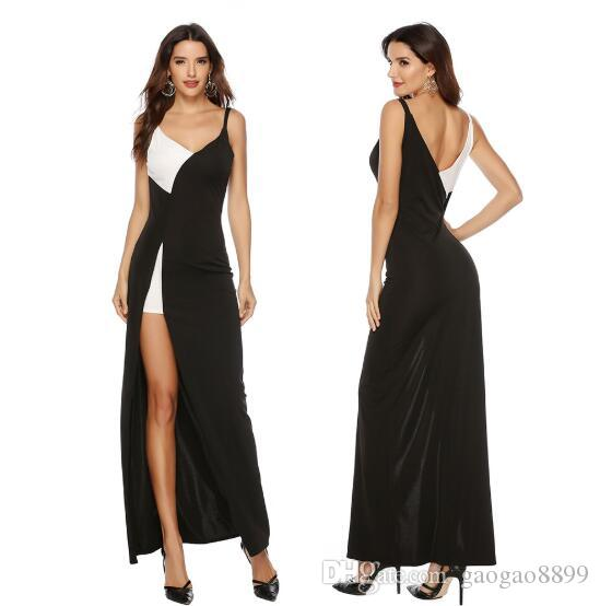 2019 A Line Prom Dresses spaghetti chic Evening Dress black and white sexy high split Party Gowns cheap in stock can custom made
