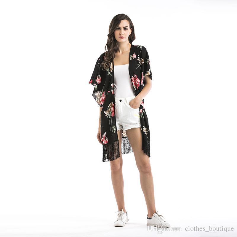 2019 para mujer boho estampado floral chiffon beach chal impresión floral manga suelta kimono cardigan flecos remiendo cubrir blusa