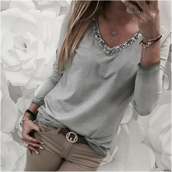 Spring New Fashion Women's Casual Clothing V-neck Sequins Long Sleeved Shirt Plus Size Blouse Tops S-5XL 2020