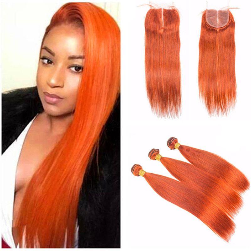 Brazilian Virgin Human Hair Weaves 3Pcs With Orange Lace Closure Straight Human Hair Extensions and Lace Closure Virgin Hair For Sale
