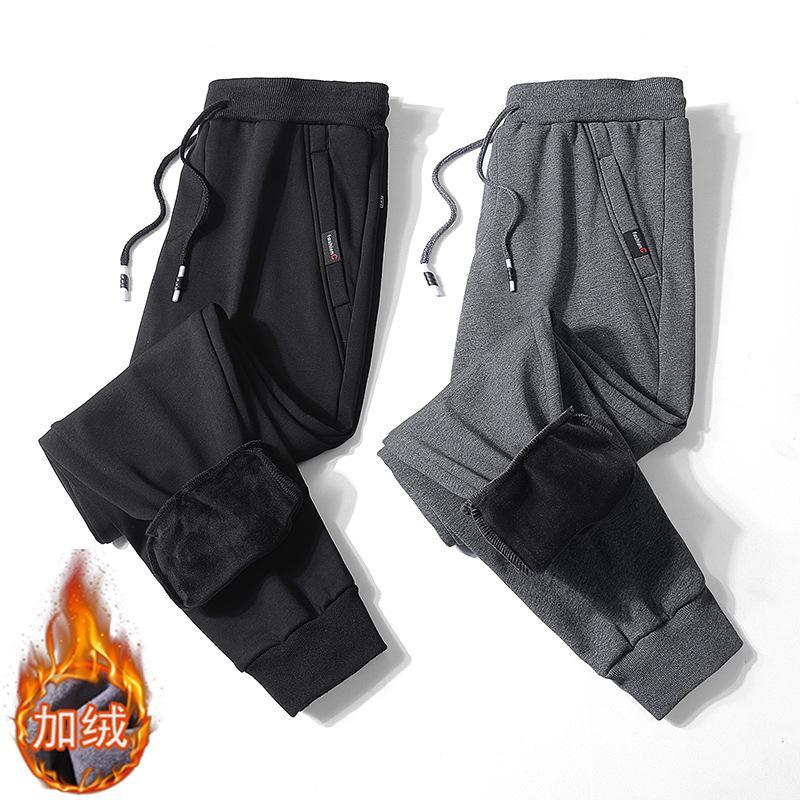 Calças dos HOMENS de Esportes magro Fechando Sweatpants Outono Inverno escovado e grosso tornozelo Banded as calças dos homens solto e plus-size
