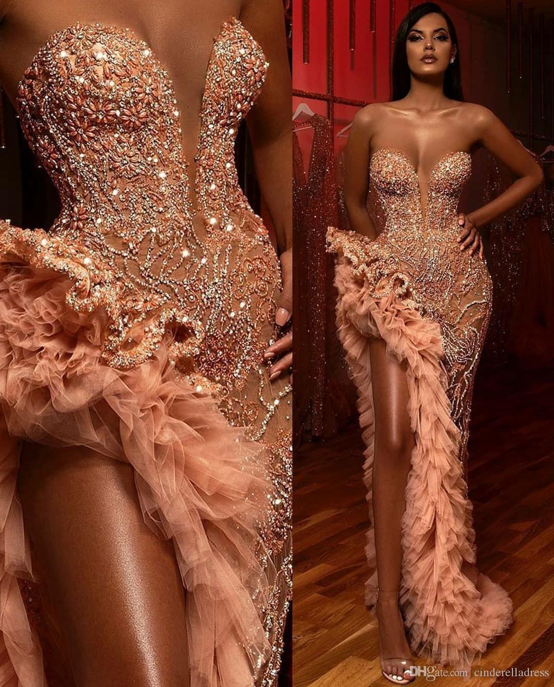 Elegante Schenkel Hohe Slits Abendkleider 2020 Arabisch Sweetheart Perlen Kristalle Abendkleider mit Pailletten Tiered Rüschen Roben de soirée