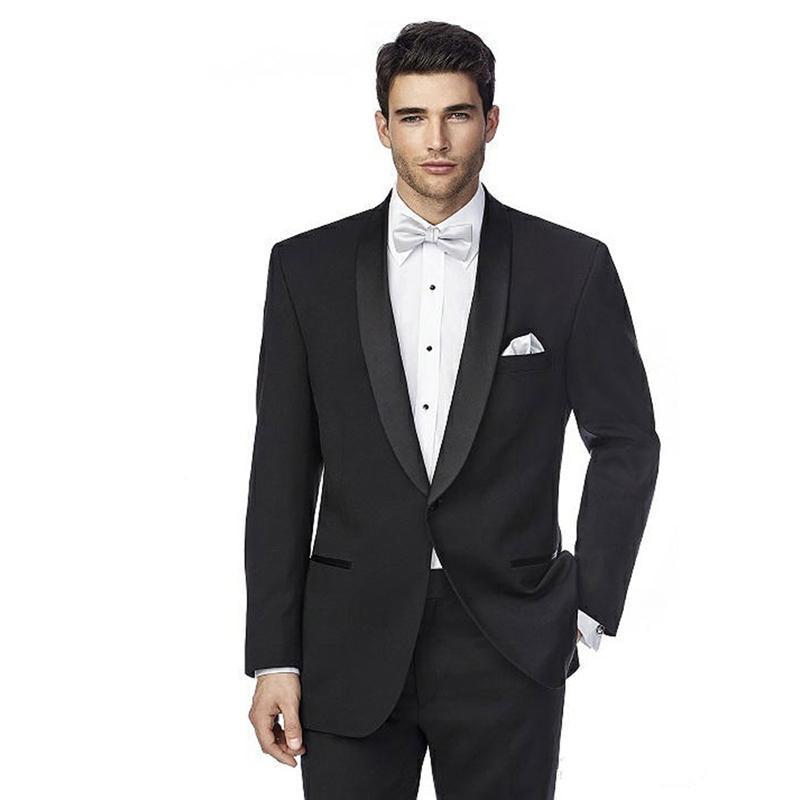 New Black Business Prom Men Abiti da sposa slim fit 2 pezzi (giacca + pantaloni) Scialle Lapel Coustume Homme Giacca da camera Birdroom Terno 53