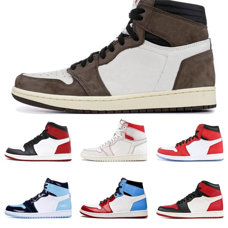 Yeni Basketbol Ayakkabıları 1 1S Jumpman Ayakkabı Mahkeme Mor Beyaz Çam Yeşil Siyah Obsidian Unc Tasarımcı Sneakers 11 11S Bred Concord 45 Traine # QA261
