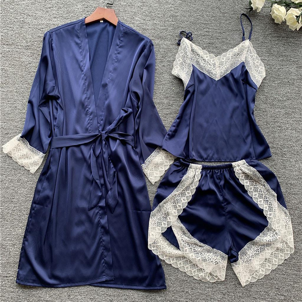 Сексуальное женское белье женщин пижамы шелковые кружева 3шт пижамы комплект Атлас пижамы сексуальный кружево пижама ночной рубашке пижамы домашняя одежда #з