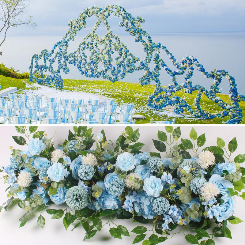 50cm Artificial Flower Row Wedding Decor Acanthosphere Rose Flower Row Silk Road Cited Flowers Arched DIY Background Flower Wall