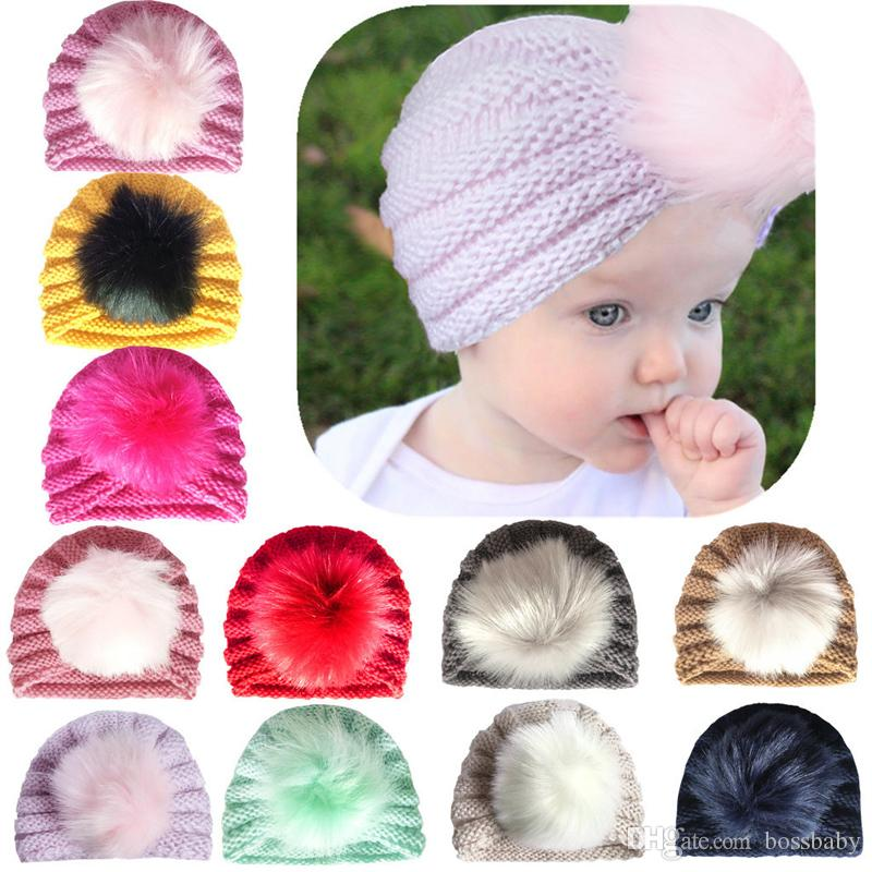 Infant Baby Knit Hats Kids Girls Hair Indian Hat Kids Solid Caps Girls Outdoor Slouchy Beanies Toddler Skull Caps Enfant Gifts 06