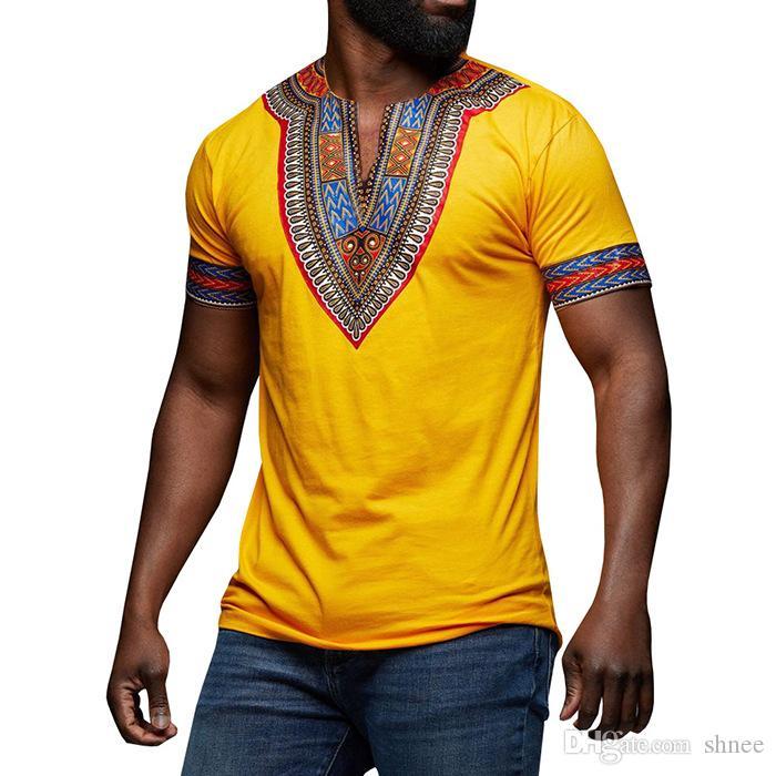 أفريقيا الملابس dashiki الخامس الرقبة تي شيرت الطباعة التقليدية الوطنية ماكسي الزى dashiki الأفريقية الهيب هوب بأكمام قصيرة الزى الرجال