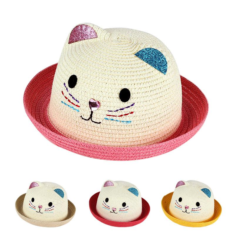 SPMI Straw Hats Girls Kids Sun Hats Summer Beach Hats Straw Woven Pocket Suit Outdoor Activities Pink