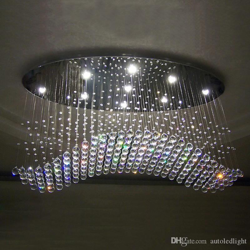 Spedizione gratuita ovale tenda onda moderna lampadari di cristallo lampada soggiorno lampada hotel illuminazione dimensioni: L750 * W250 * H650mm