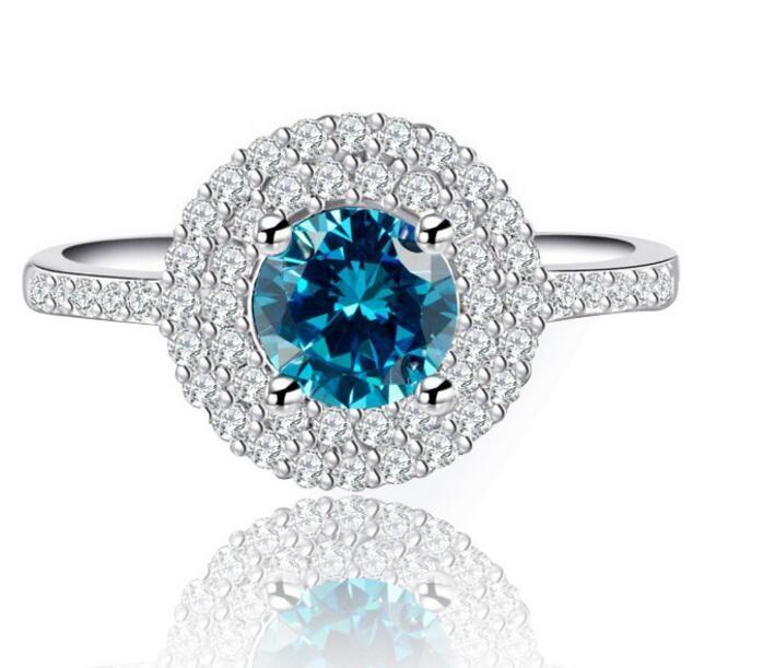 Fast Free shipping SONA synthetic diamond engagement ring semi mount 18k white gold wedding Diamond ring double layer Sea blue zircon ring