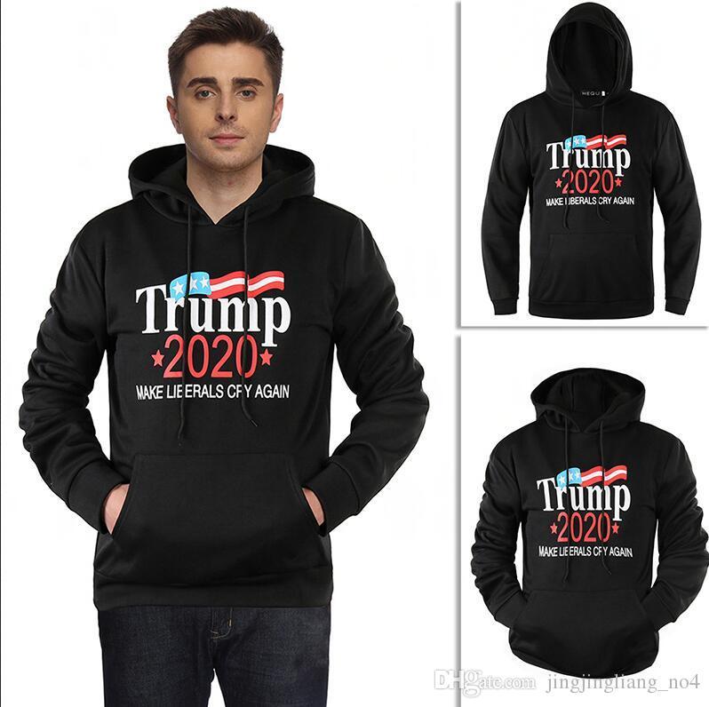 Men Women Donald Trump 2020 Hoodie Unisex Hooded Sweatshirts M-2XL Pullover Make America Great Again Home Clothing 6pcs AAA1513