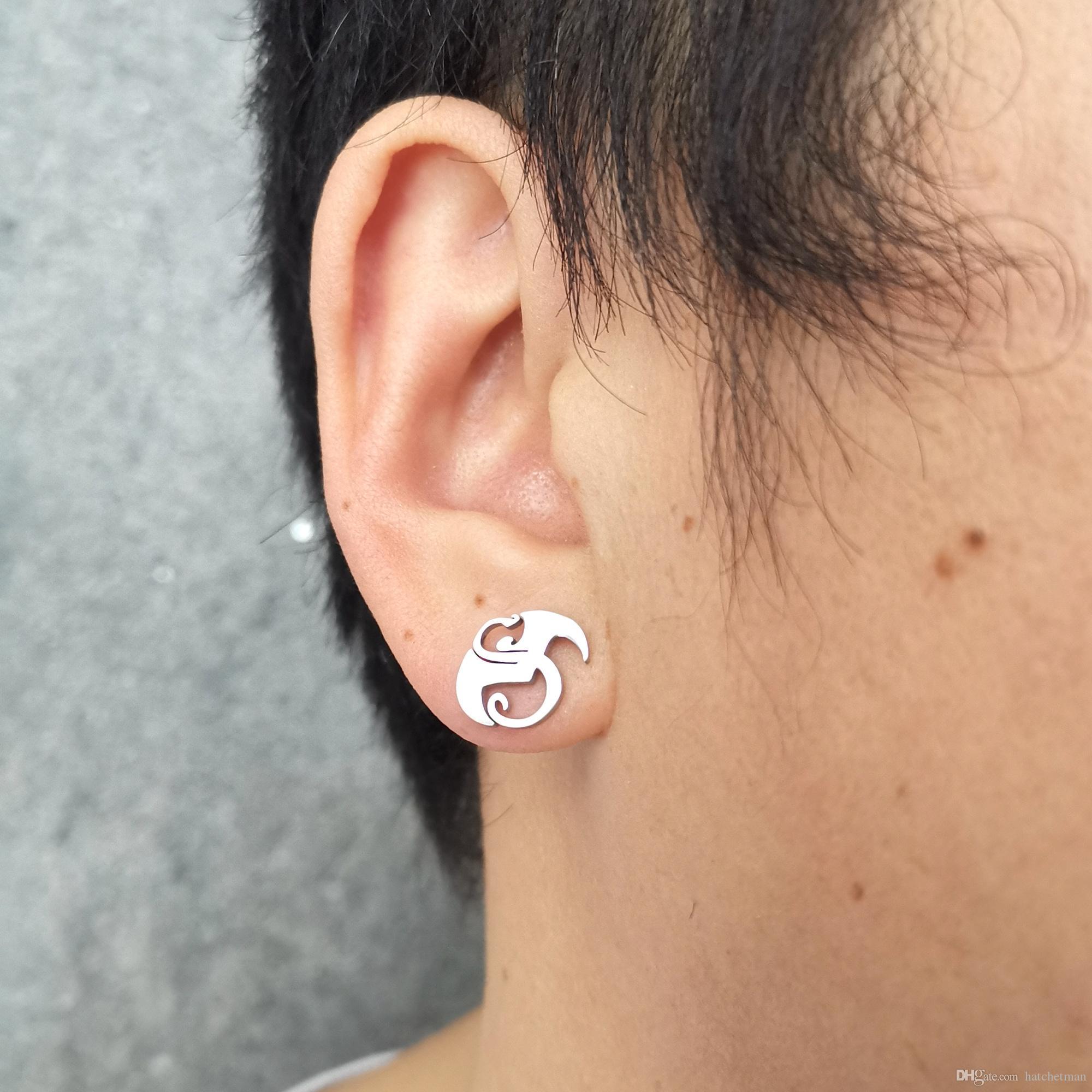 NEW Strange music charm Tech N9ne Orecchino Della Vite Prigioniera in acciaio inox argento polacco dei monili di marca nuovo disegno buon regalo per unisex