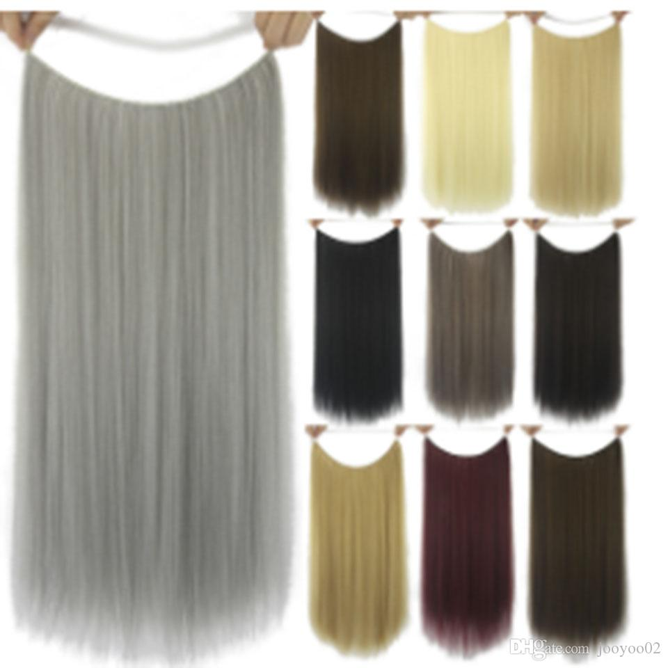 Chemical Fiber Fish Line Hair Curtain Wig Piece Long Straight Hair No Trace Hair Piece High Temperature Silk Cute Hairpin Fashion Color jooy