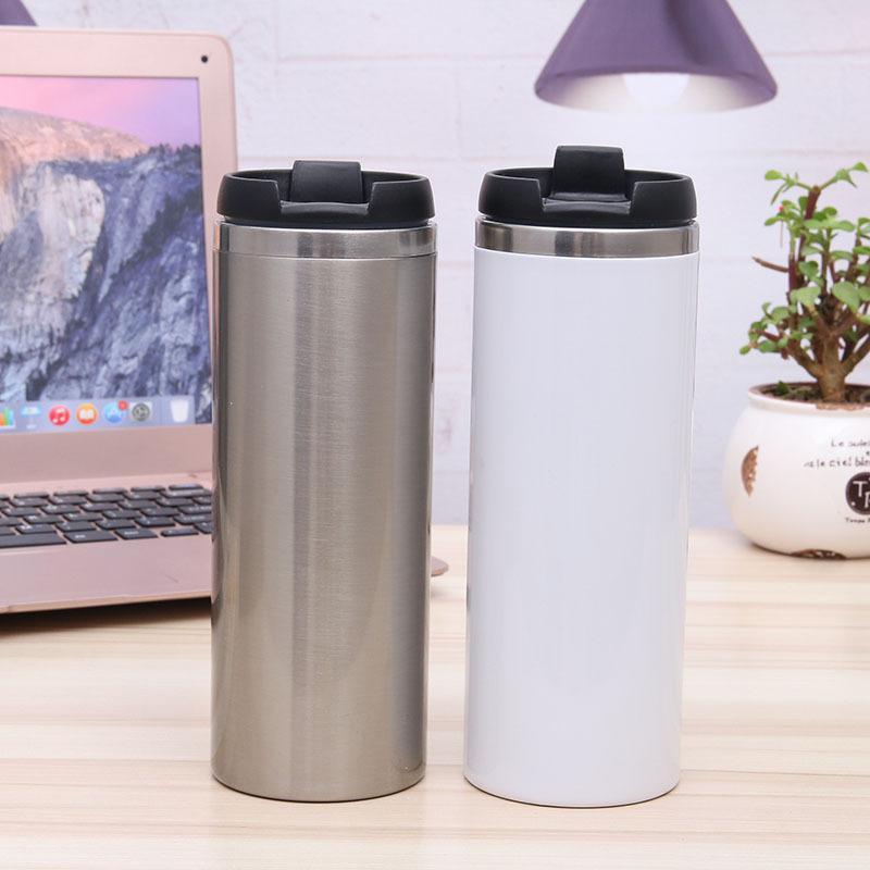 420ml à double bouteille d'eau de transfert de chaleur de sublimation en acier inoxydable de paroi Gobelet isolant avec couvercle bascule WB2205