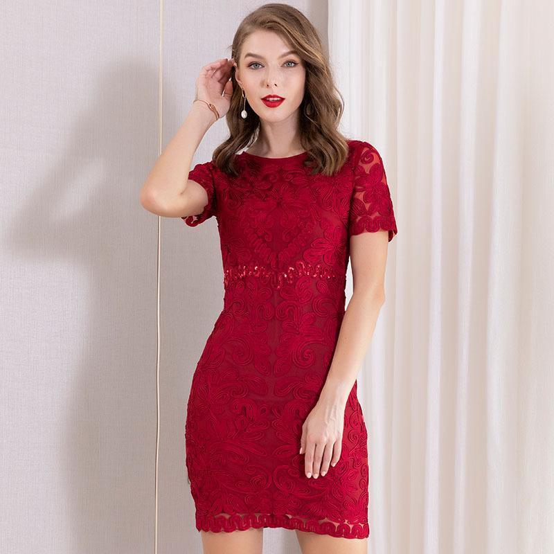 2020 Frauen-Stickerei Sommer Designer-Kleid Kurzhülse Kleidung Damen Freizeit-Kleider für Frauen-Maxi Kleider Vestidos De Noche Röcke