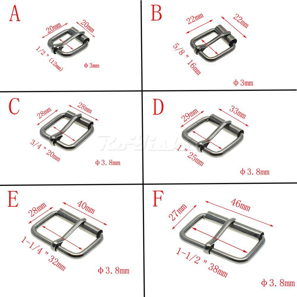 50pcs / lot Negro del metal de arma de alambre Formado medio de un rodillo abrocha para el bolso de mano de zapatos de la correa del anillo del rectángulo arte de cuero Reparación de la decoración de DIY
