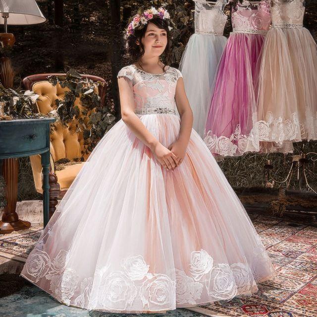 Acheter Enfants Princesse Filles Robe De Mariage Pageant Parti Dentelle Longue Fille Robes Robe De Demoiselle D Honneur Pour Ados 6 14y Xf113 De