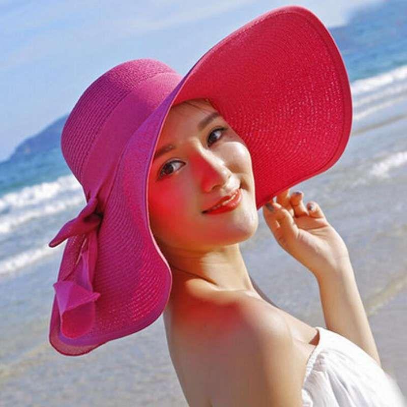 2019 Yeni Moda Rahat Geniş Ağız Disket Fold Güneş Şapka Kadınlar Için Yaz Şapka Dışarı Kapı Güneş Koruma Hasır Şapka Kadın Plaj Şapka