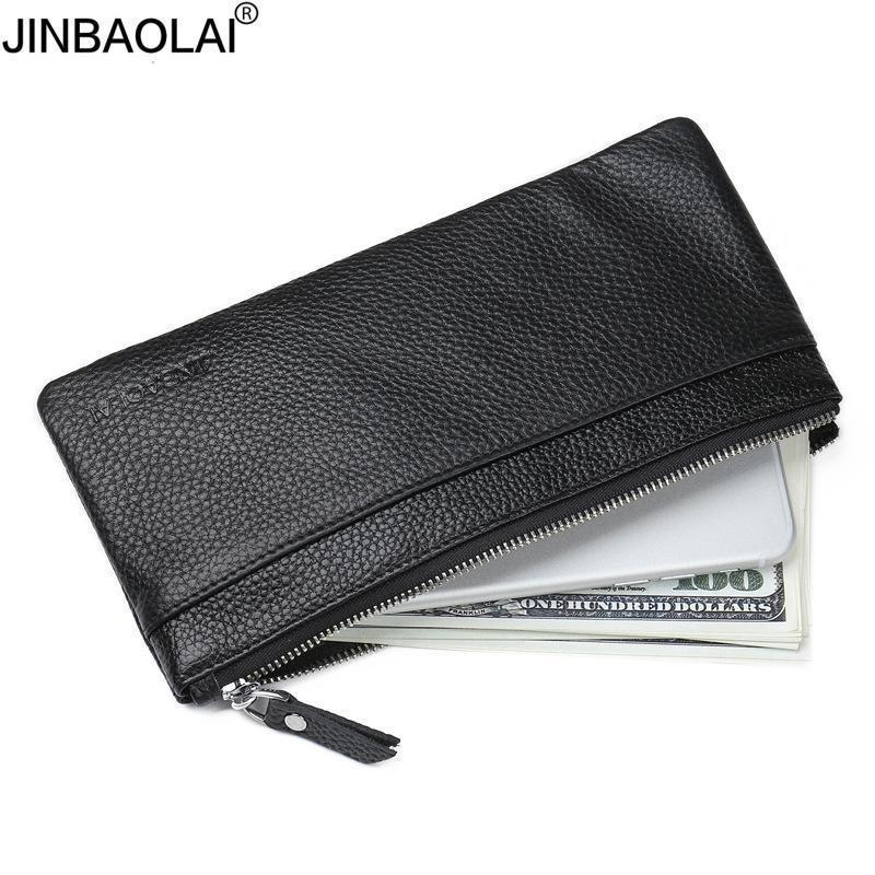 Jinbaolai Genuine Leather Men's Wallet With Cell Phone Bag Ultra-thin Long Zipper Wallet For Men Slim Clutch Purse For Male Y19052104
