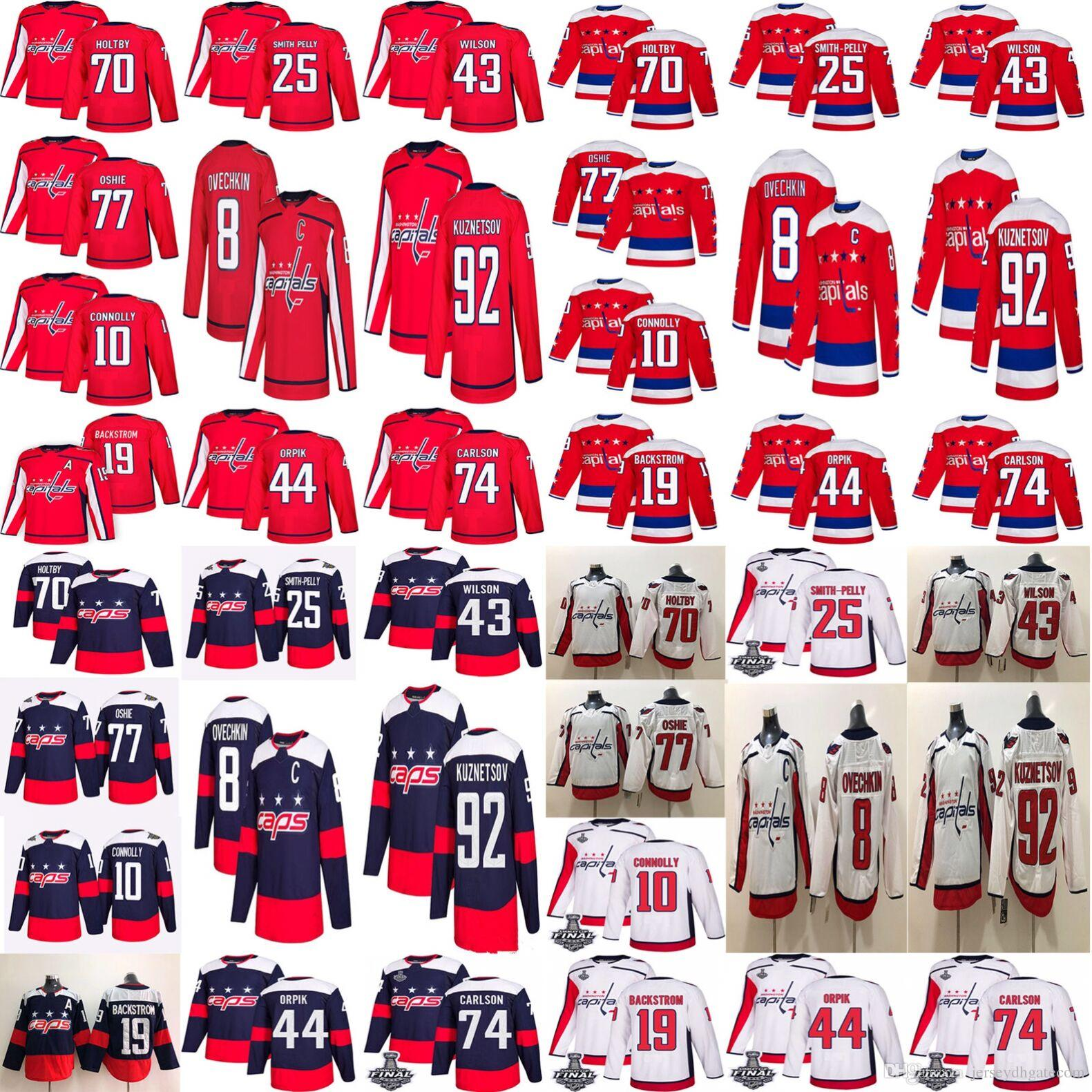 18-19 Stanley Cup Meister Washington Capitals Hockey 8 Alex Ovechkin 70 Braden Holtby 77 TJ Oshie 43 Tom Wilson 92 Kuznetsov Hockey Trikots